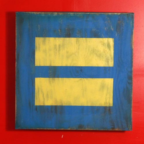 Weathered wood Human rights campaign vintage wood wall art, 24x24x4