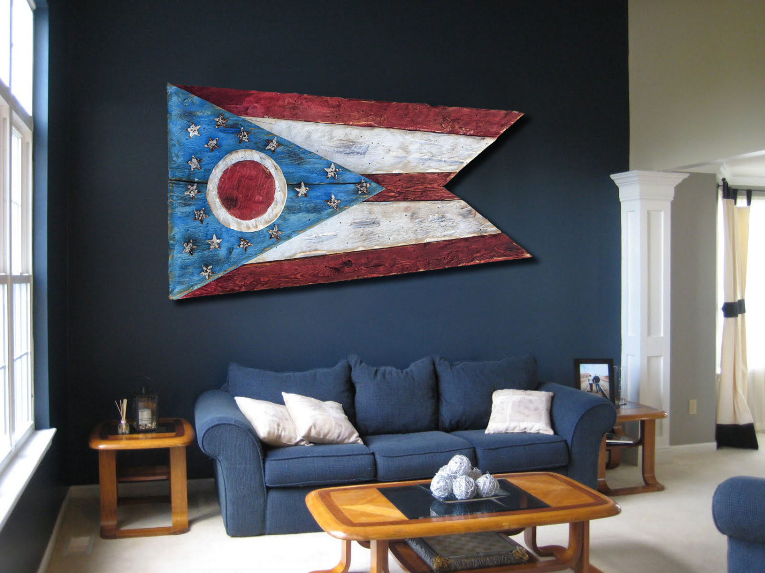 Weathered Wood One Of A Kind 3D Ohio Flag, Wooden, Vintage, Art,
