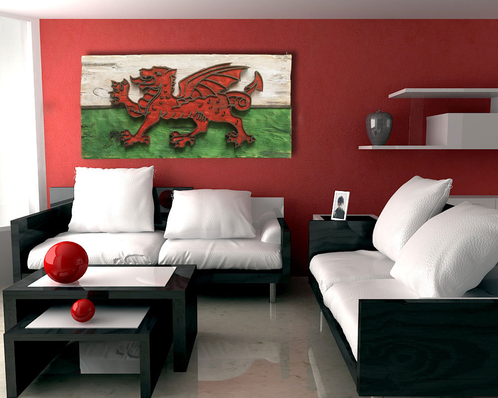 Weathered Wood One Of A Kind Welsh Flag Wooden Vintage Art