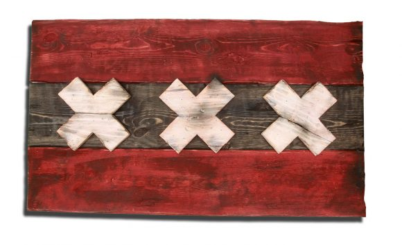 Weathered Wood One of a kind Amsterdam flag, Wooden, vintage, art, distressed, Dutch, recycled, Amsterdam flag art. Netherlands, red