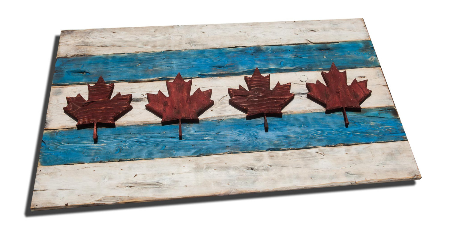 weathered wood one of a kind chicago flag canada style vintage