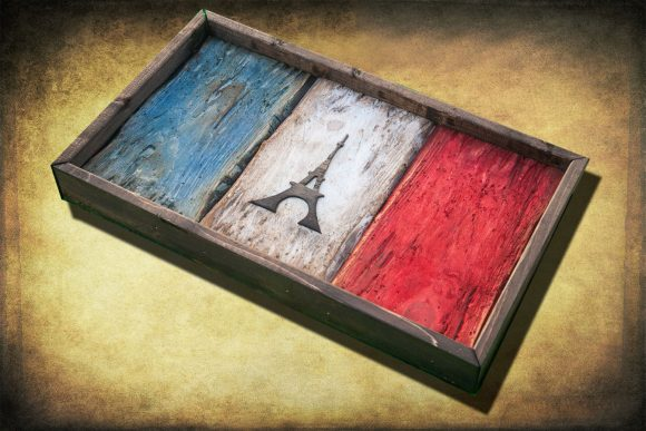 Weathered Wood One of a kind French flag, Wooden, vintage, art, distressed, weathered, recycled, Europe art flag art. France, Red White Blue