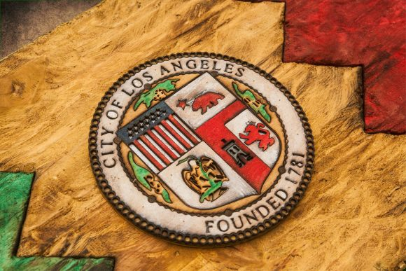 Weathered Wood One of a kind Los Angeles City flag, Wooden, vintage, art, distressed, weathered, recycled, California flag art. Hollywood