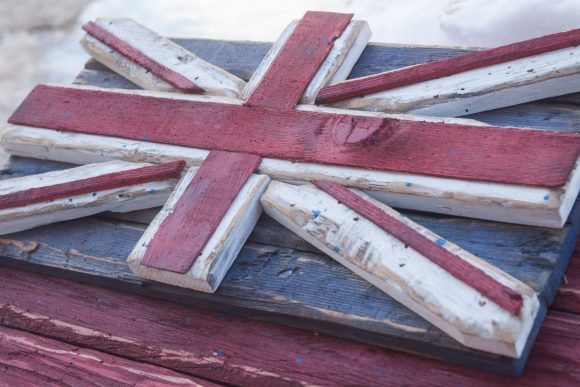 Weathered Wood One of a kind Providence of Ontario flag, Wooden, vintage, art, distressed, weathered, recycled, Providence, Canada, Red