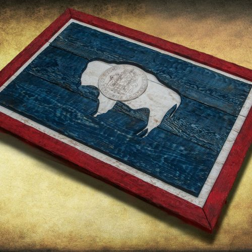 Weathered Wood One of a kind Wyoming State flag, Wooden, vintage, art, distressed, weathered, recycled, North West art flag art. Buffalo