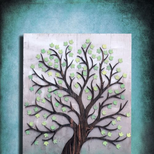 "Wedding registry guest book alternative or wall art, ""The Tree of New Lives"" Keepsake, Personalize, Vintage, Custom, Green, Blue, wall art"