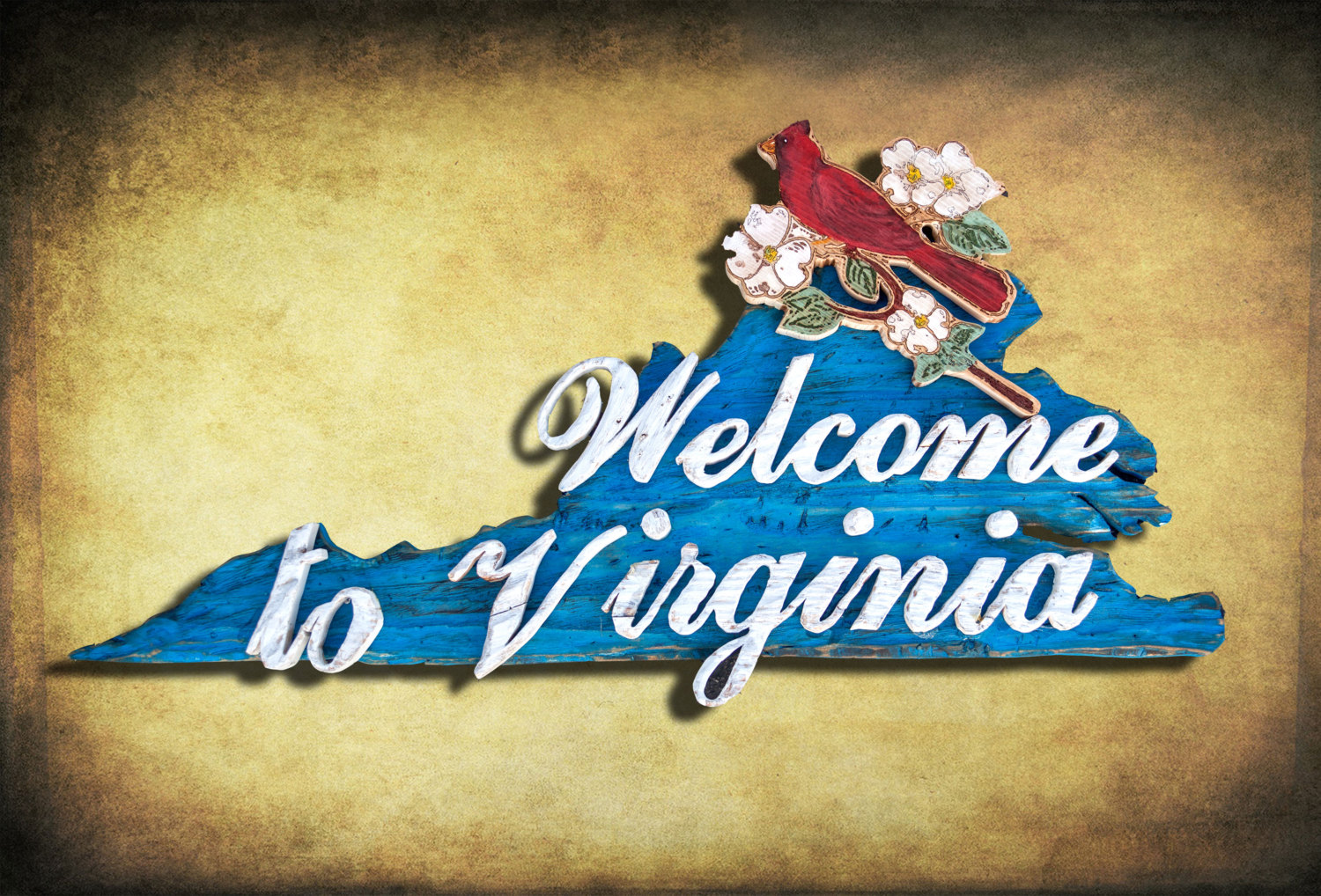 Welcome to Virginia Sign, Weathered Wood, One of a kind, 3D, Wooden ...