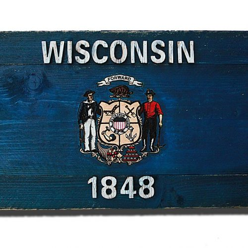 Wisconsin State Flag, Handmade, Distressed Wooden ,vintage, art, distressed, weathered, recycled, home decor, Wall art, reclaimed, Blue