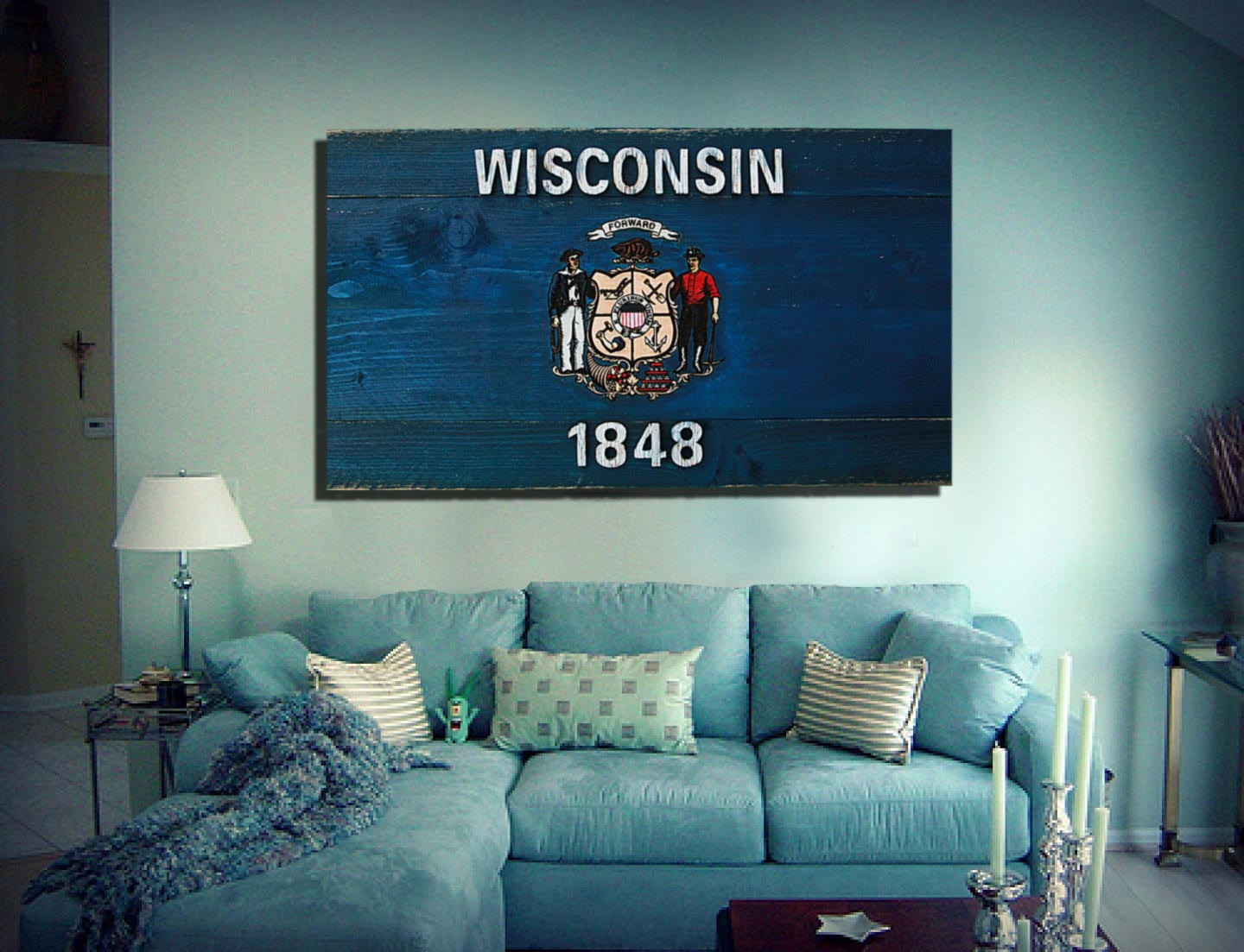 Wisconsin State Flag Handmade Distressed Wooden Vintage Art Weathered
