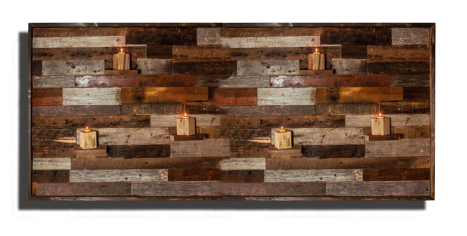 Wood Wall Art With Floating Shelves Made Of Reclaimed Barnwood Diffe Sizes