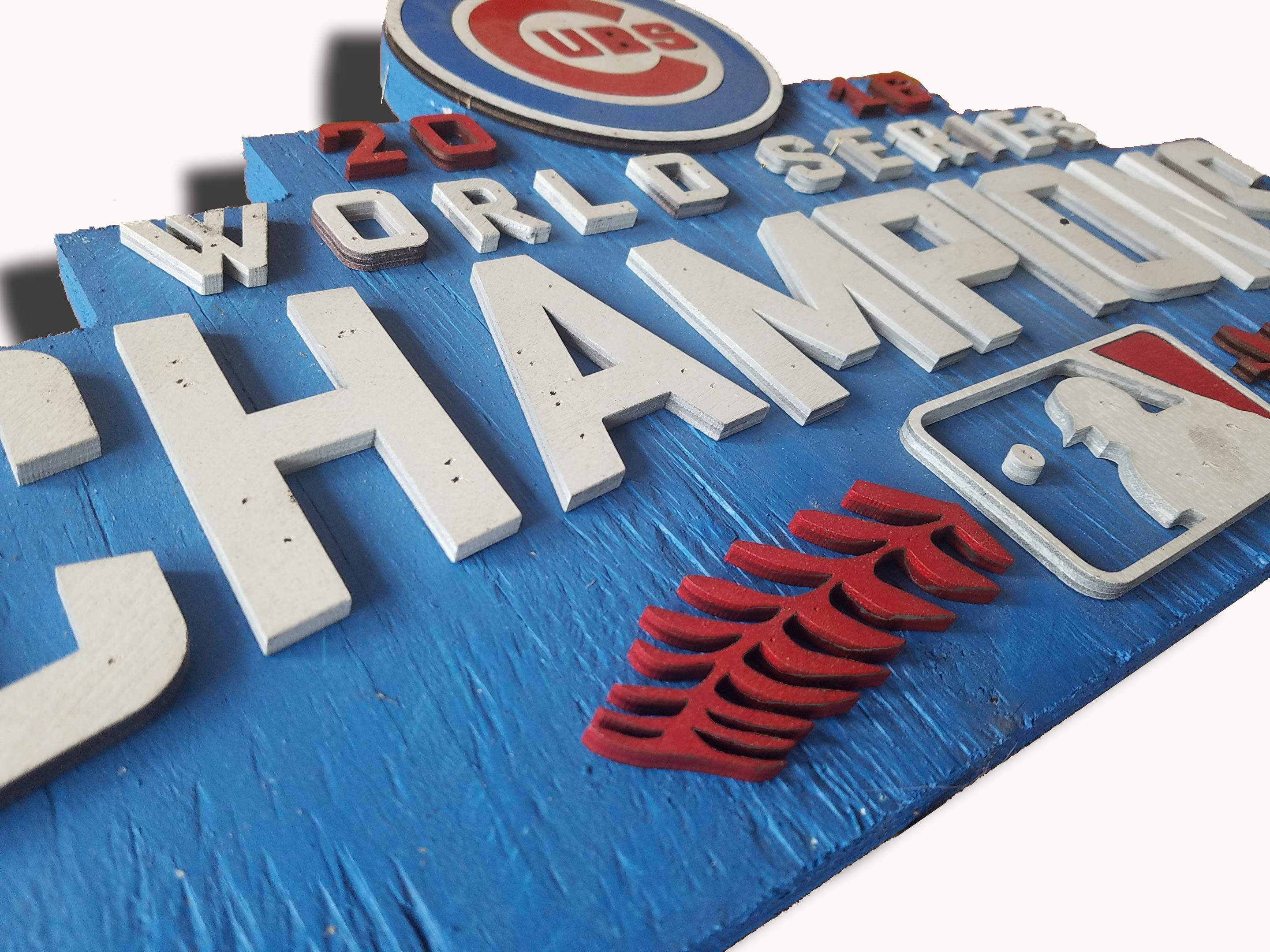 World Series Champions Chicago Cubs Handmade Distressed Wood Sign Vintage Art Weathered Recycled Baseball Home Decor Man Cave Blue