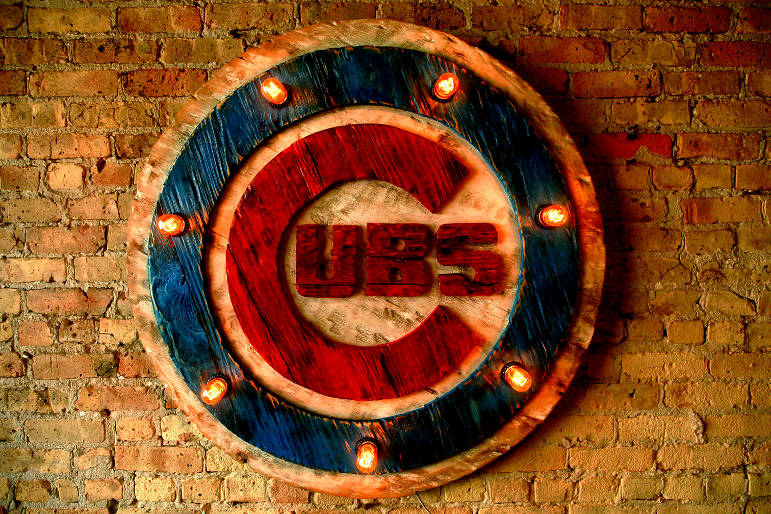 Chicago Cubs Handmade Distressed Edison Light Bulb Wood Sign Vintage Art Weathered Recycled Baseball Home Decor Wall Art Man Cave Blue Red