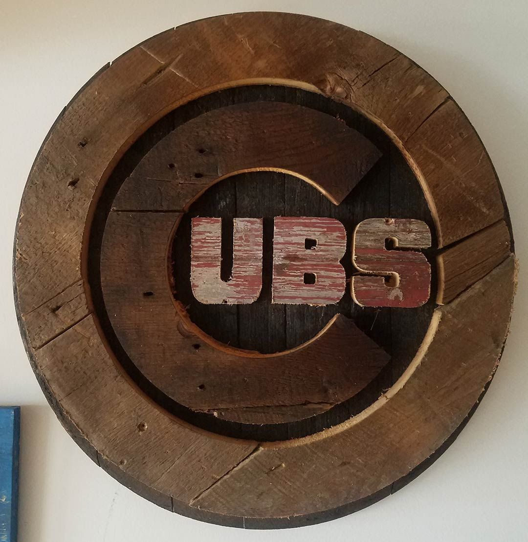 19 Chicago Cubs Bourbon Barrel Barn Wood Handmade Distressed Wood Sign Vintage Art Weathered Recycled Baseball Home Decor Wall Art Man Cave