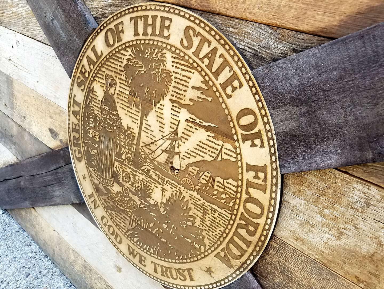 Barn wood Florida Flag, Handmade, distressed natural Wood, vintage ...