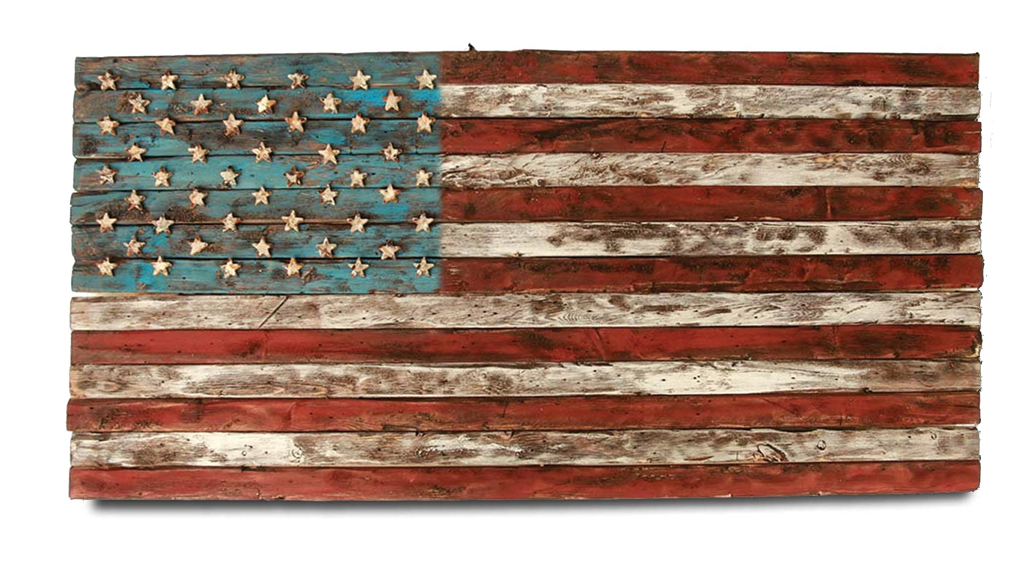 Fantastic American Flag, Weathered Wood, One of a kind, 3D, Wooden, vintage  RR79