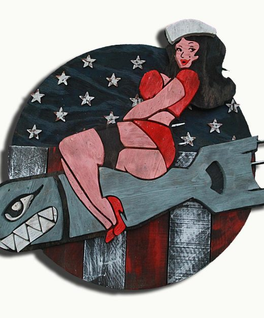 1950's Vintage reclaimed wood Pin Up bomber girl, Wall Art, Retro, red white and blue, patriotic