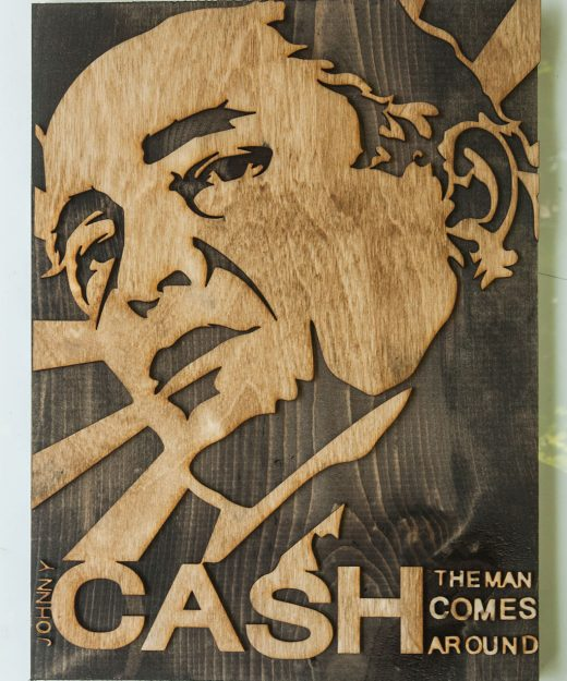 3D sculptured wall hanging wooden art.  Johnny Cash, Country, wood, rustic, sepia, vintage, rock-a-billy, sculpture, home decor, brown