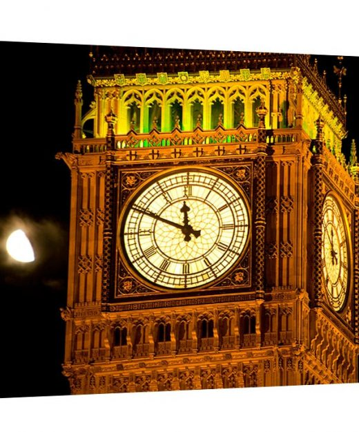 A stunning museum quality canvas gallery wrap, original photography, canvas print, Big Ben, London, England, moon, parliament, night photo