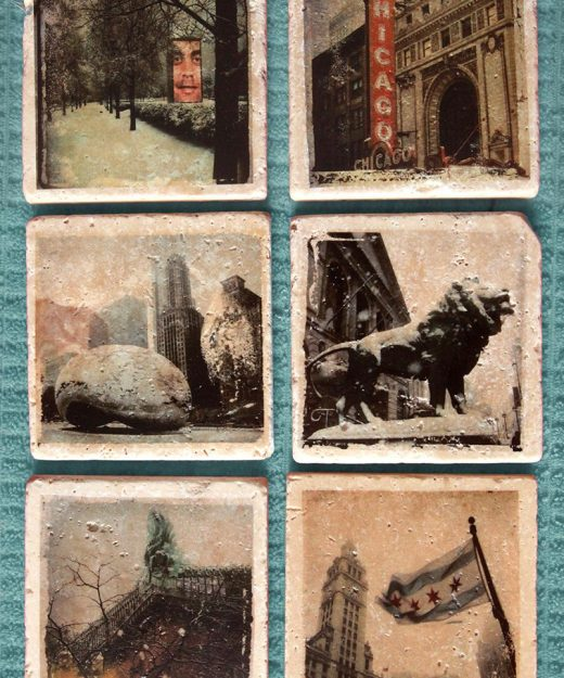 A stunning set of six stone Coasters or wall art, Chicago, Art Institute, Wrigley building, Chicago theater, Millennium park, Chicago print