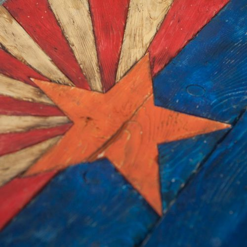 Arizona Flag, Handmade, distressed painted Wood, vintage, art, distressed, weathered, AZ, Arizona flag art, home decor, Wall art, blue