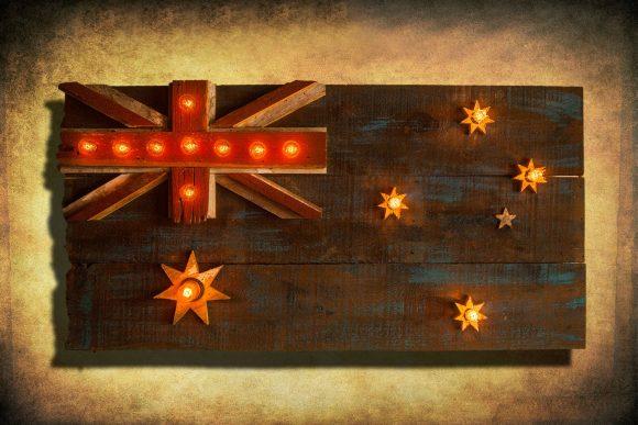 Australian Flag Weathered  distressed Barn Wood flag Edison limited Edition, vintage, distressed, weathered, recycled, Australia, UK, Sydney