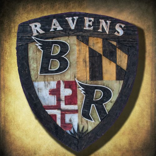 Baltimore Ravens Shield, Limited Edition, Weathered Wood One of a kind , Man cave, vintage, distressed, Maryland Flag recycled, red, yellow