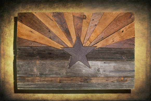 Barn wood Arizona Flag, Handmade, distressed natural Wood, vintage, art, distressed, weathered, AZ, Arizona flag art, home decor, Wall art