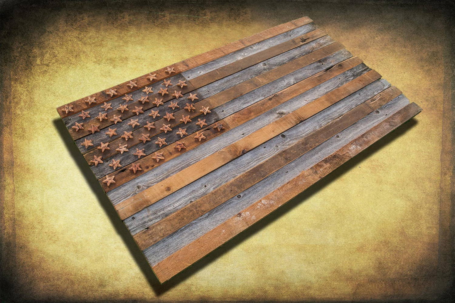 Brand-new Barnwood American Flag, 100 year old Wood, One of a kind, 3D  NB26