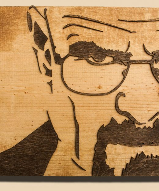 Breaking Bad 3D sculptured wall hanging wooden art.  Walter White, Heisenberg, wood, rustic, sepia, vintage, sculpture, home decor, brown