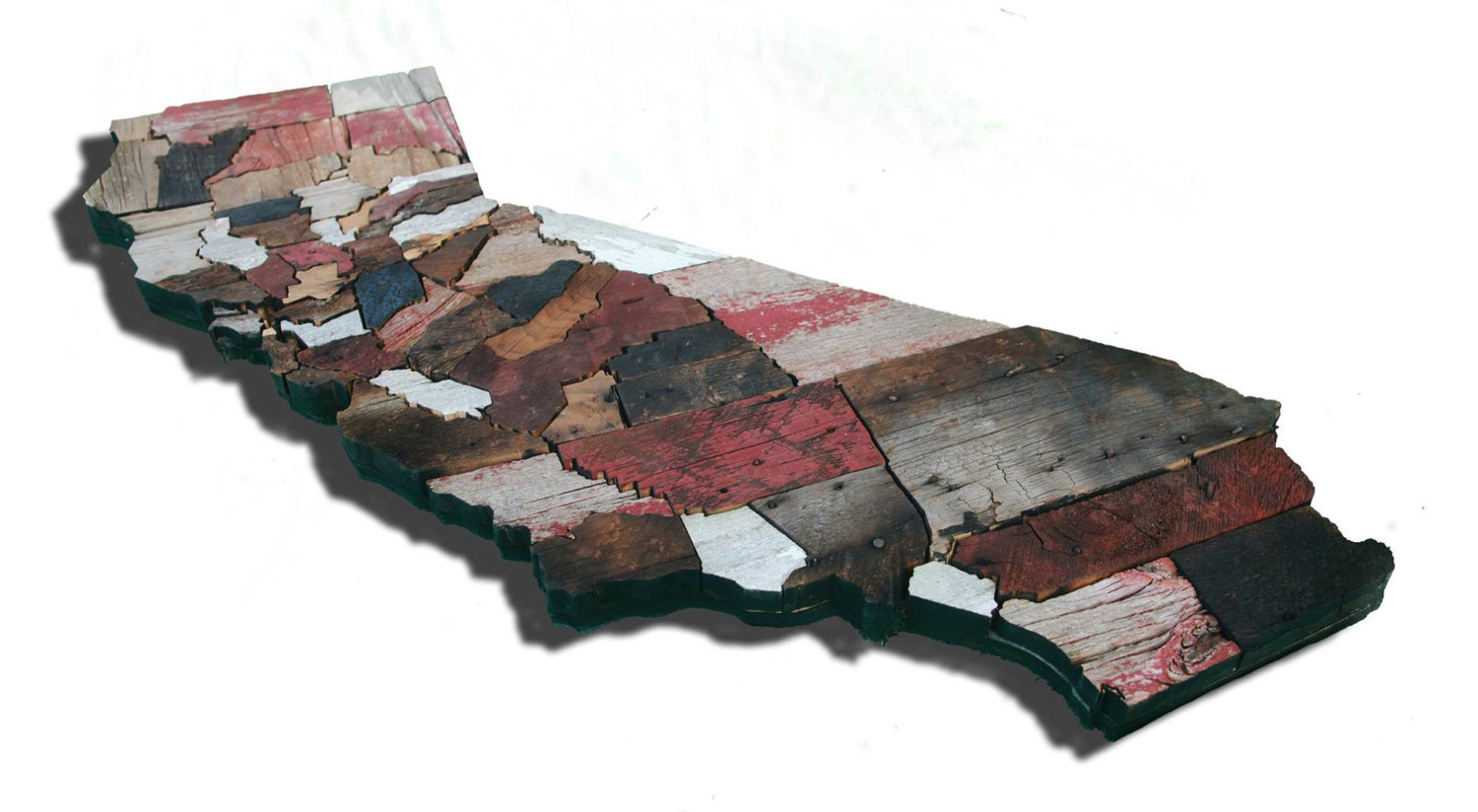 Calfornia counties map made from reclaimed barn wood for Reusable wood