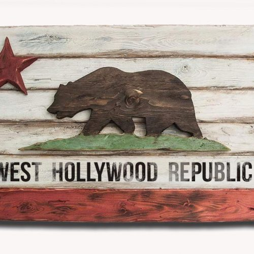 California Republic personalized flag, Wooden, vintage, art, distressed, weathered, recycled, California flag art. wedding, red, white