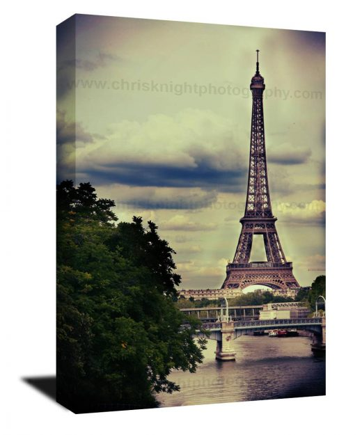 Canvas Gallery wrap, water color, vintage, Paris decor, Paris France, eiffel Tower, Europe, sepia, Travel photograph, antique, green, brown