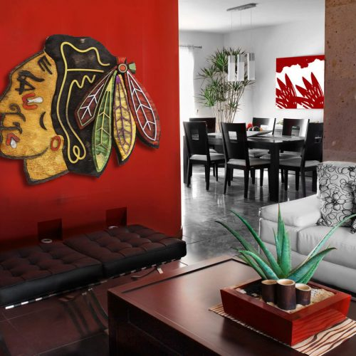 Chicago Blackhawks Handmade distressed wood sign, vintage, art, weathered, recycled, Hockey, home decor, Wall art, Man Cave, Blue, Red