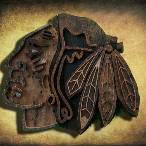 Chicago Blackhawks Handmade reclaimed barn wood wall art, vintage, weathered, recycled, Hockey, home decor, Wall art, Man Cave, Blue, Red