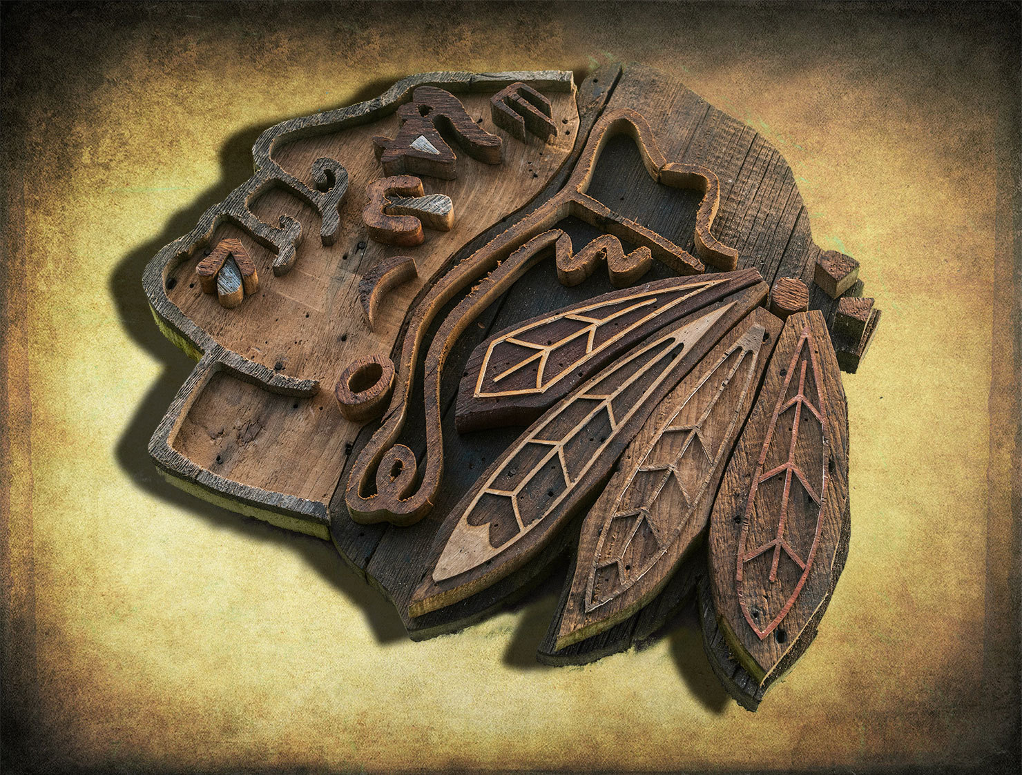 Chicago Blackhawks Handmade Reclaimed Barn Wood Wall Art