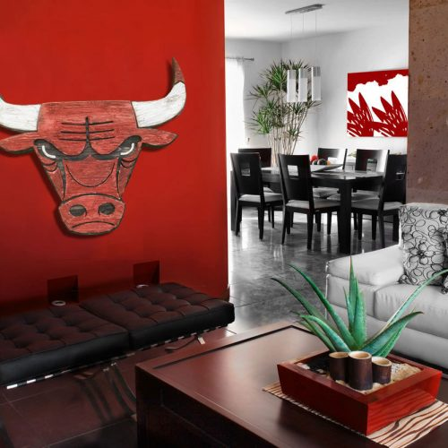 Chicago Bulls Handmade distressed wood sign, vintage, art, weathered, recycled, home decor, Wall art, Man Cave, Black, Red