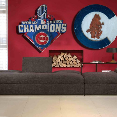 Chicago Cubs 1908 logo Handmade distressed wood sign, vintage, art, weathered, recycled, Baseball, home decor, Wall art, Man Cave, Blue, Red