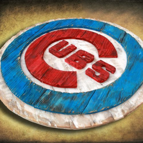 Chicago Cubs Handmade distressed wood sign, vintage, art, weathered, recycled, Baseball, home decor, Wall art, Man Cave, Blue, Red