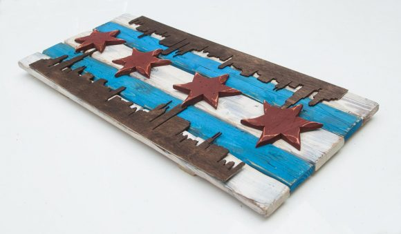 Chicago Flag Distressed Weathered Wood One of a kind with skyline Blue, red, Illinois,recycled, reclaimed, wooden, rustic