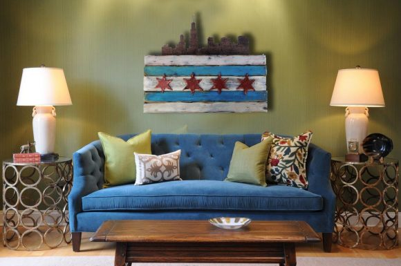 Chicago Flag Distressed Weathered Wood One of a kind with skyline, Blue, red, Illinois,recycled, reclaimed, wooden, rustic