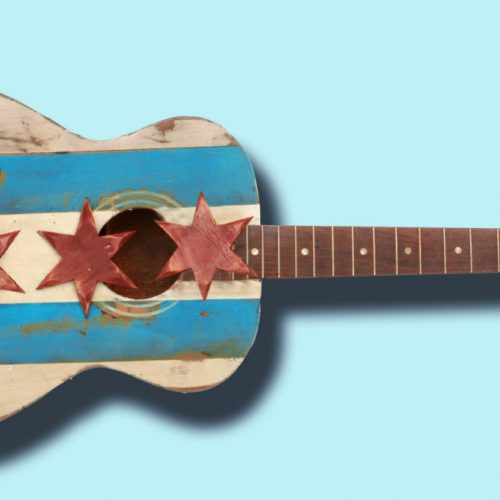 Chicago Flag One of a kind hand painted on old guitar, vintage, art, distressed, weathered, recycled, Chicago flag art
