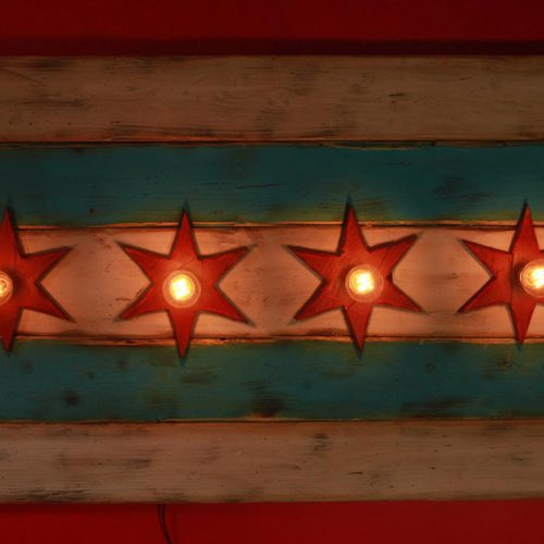 Chicago Flag One of a kind Weathered Wood, Antique Edison light bulbs, Blue, red, Illinois,recycled, reclaimed, wooden, rustic