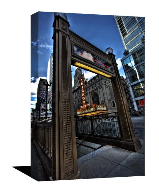chicago photography, stunning museum quality print, Chicago theater, Chicago, Art, Canvas Print, home decor, L Train, Blue, HDR, City photo