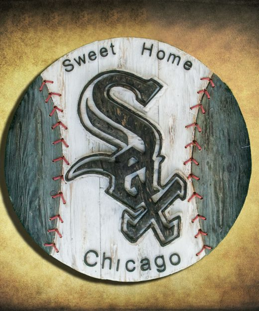 Chicago White Sox Handmade distressed wood sign, vintage, art, weathered, recycled, Baseball, home decor, Wall art, Man Cave, White, Gray