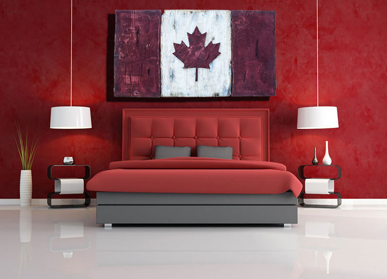 Distressed wood one of a kind canadian flag maple leaf l for Home decor online canada
