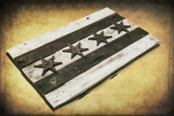 Distressed Wooden Chicago Flag, Black and White Version vintage, distressed, weathered, Chicago flag art, home decor, Wall art, recycled