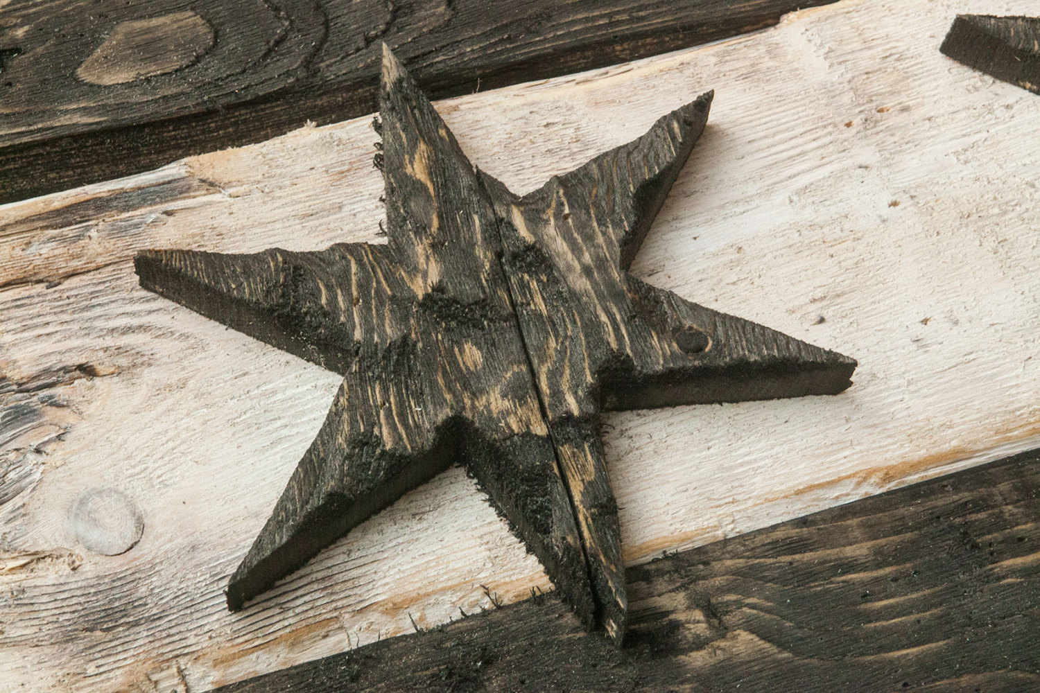 Distressed Wooden Chicago Flag, Black And White Version