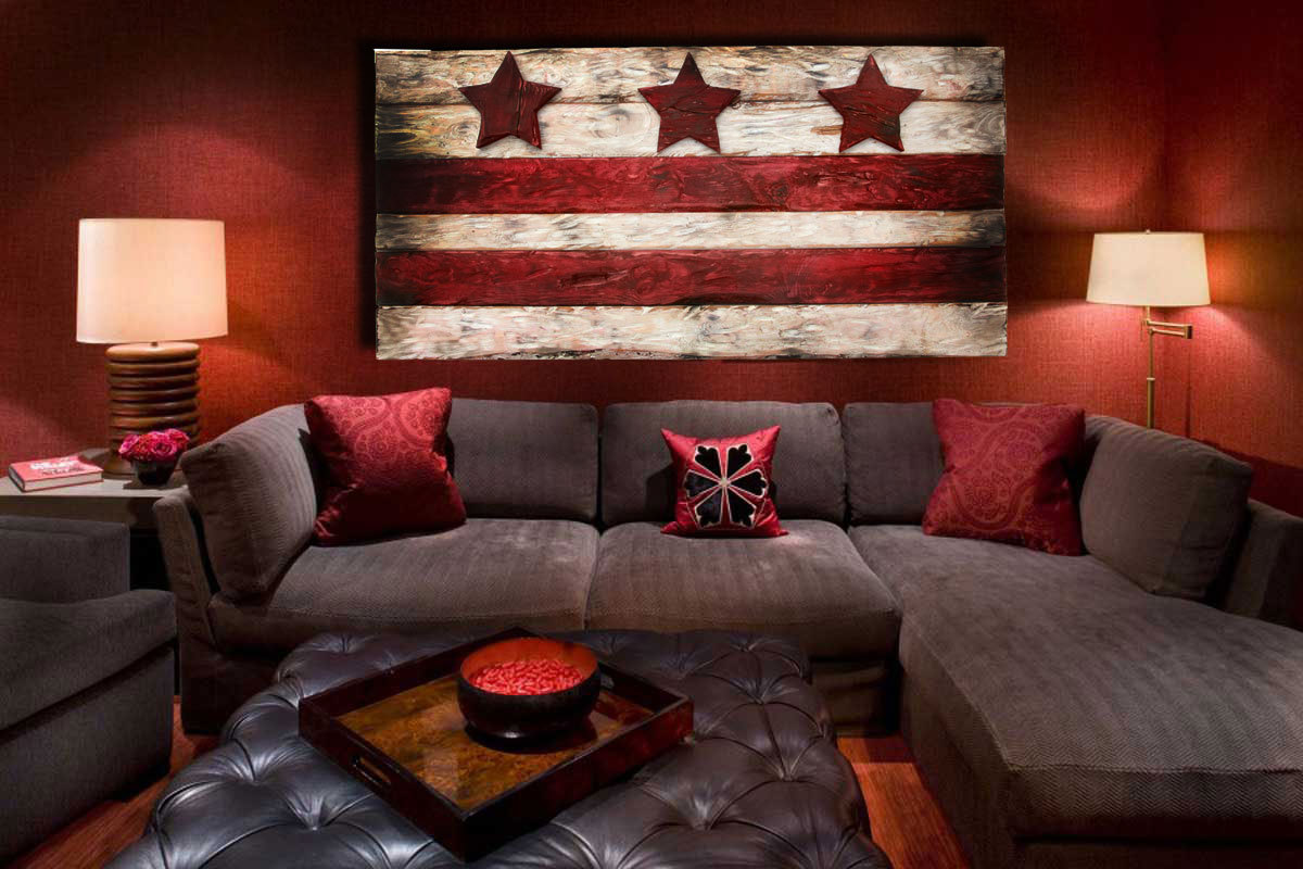 Art Décor: District Of Columbia Flag, Weathered Wood One Of A Kind