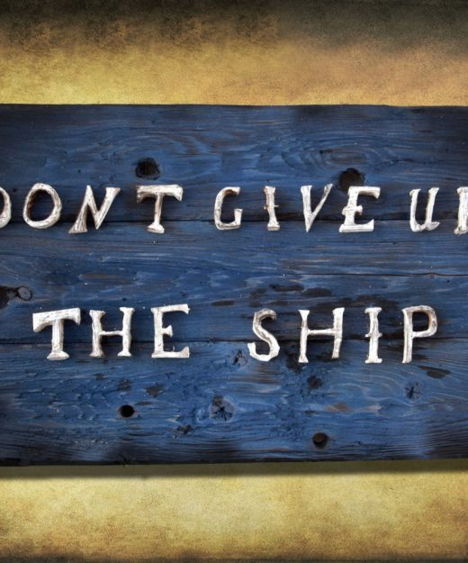 Don't Give Up the Ship, Original Version, distressed wood, home decor, art, recycled wood, reclaimed art, blue, Navy, Sailing, boat