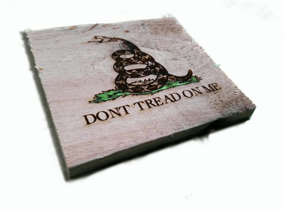 Gadsden Flag, Don't Tread On Me engraving. Weathered Wood One of a kind ,vintage, art, distressed, weathered, recycled, snake, yellow